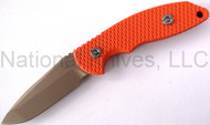 "Rick Hinderer Knives FXM Spanto Fixed Blade Knife, DLC Flat Dark Earth (FDE) 3.5"" Plain Edge S35VN Blade, Orange G-10 Handle, Black Kydex Sheath"