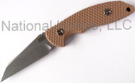 "Rick Hinderer Knives FXM Wharnclilffe Fixed Blade Knife, Stonewashed 3.5"" Plain Edge S35VN Blade, Coyote Brown G-10 Handle, Black Kydex Sheath"
