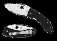 "Spyderco Lil' Lum C205GP Folding Knife, 2.375"" Plain Edge Blade, Black G-10 Handle"