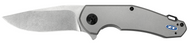 "Zero Tolerance 0220 Flipper Folding Knife, Stonewashed 3.5"" Plain Edge Blade, Bead Blasted Titanium Handle"