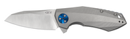 "Zero Tolerance 0456 Flipper Folding Knife, 3.25"" Plain Edge Blade, Titanium Handle"
