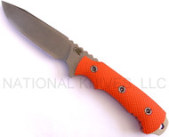 "Rick Hinderer Knives FieldTac 5.5 Fixed Blade Knife, Stonewashed 5.5"" Plain Edge S35VN Blade, Orange G-10 Handle, Flat Dark Earth (FDE) Kydex Sheath"