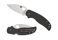 "Spyderco Sage 5 C123CFPCL Folding Knife, 3"" Plain Edge Blade, Black Carbon Fiber and G-10 Laminate Handle"