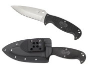 "Spyderco Jumpmaster 2 FB24SBK2 Fixed Blade Knife, 4.5"" Serrated Edge Blade, Black FRN Handle, Sheath"