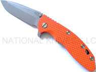 "Rick Hinderer Knives XM-18 Spanto Folding Knife, Working Finish 3.5"" Plain Edge S35VN Blade, Working Finish Lock Side, Orange G-10 Handle"