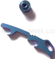 Rick Hinderer Knives Hinderer Modular Backspacer System (HMBS) - Anodized Blue Titanium - Lanyard Backspacer and Forward Standoff Only