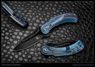 "Todd Begg Knives Steelcraft Series Field Marshall FM231 Folding Knife, 2-Tone Black 4"" Plain Edge CPM-S35VN Blade, Blue, Blue, & Silver Handle"