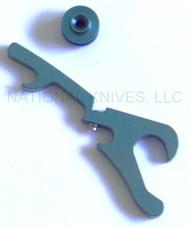 Rick Hinderer Knives Hinderer Modular Backspacer System (HMBS) - Anodized Blue Titanium - Bottle Opener Backspacer and Forward Standoff + HMBS PARTS KIT