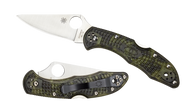 "Spyderco Delica 4 C11ZFPGR Folding Knife, 2.875"" Plain Edge Blade, Zome Green FRN Handle"