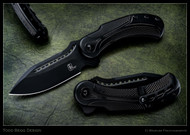 "Todd Begg Knives Steelcraft Series Field Marshall FM211 Folding Knife, 2-Tone Black 4"" CPM-S35VN Blade, Black Handle"