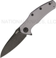 "Zero Tolerance ZT 0770GRYBW  Assisted Opening Knife, Blackwash 3.25"" Plain Edge Blade, Gray Aluminum Handle"