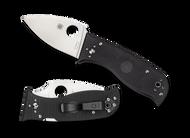 "Spyderco Lil' Temperance 3 C69GP3 Folding Knife, 3"" Plain Edge Blade, Black G-10 Handle"
