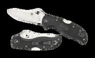 "Spyderco Stretch 2 C90PBK2 Folding Knife, 3.437"" Plain Edge Blade, Black FRN Handle"
