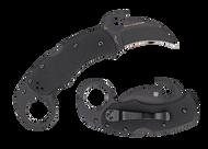 "Spyderco Karahawk C170GBBKP Folding Knife, Black 2.25"" Plain Edge Blade, Black G-10 Handle"