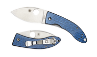 "Spyderco Lil' Lum C205GFBLP Sprint Run Folding Knife, 2.375"" Plain Edge Blade, Blue Nishijin Glass Fiber Handle"