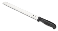 "Spyderco Bread K01SBK Kitchen Knife, 10.187"" Serrated Stainless Steel Blade, Black Handle"