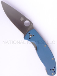 "Spyderco Tenacious C122GPBL Folding Knife, Satin 3.375"" Plain Edge Blade, Blue G-10 Handle"