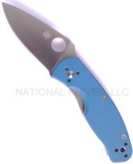 "Spyderco Persistence C136GPBL Folding Knife, 2.75"" Plain Edge Blade, Blue G-10 Handle"