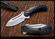 "Todd Begg Knives Steelcraft Series Field Marshall FM213 Folding Knife, Hand Satin 4"" CPM-S35VN Blade, Black Handle"