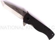 "Emerson Knives CQC-7F SF Flipper 7 Tanto Folding Knife, Satin 3.3"" Plain Edge 154CM Blade, Black G-10 Handle, Emerson ""Wave"" Opener"