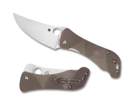 "Spyderco Hundred Pacer C225GP Folding Knife, 3.937"" Plain Edge Blade, Brown and Tan G-10 Handle"
