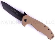 """Emerson Knives Desert Roadhouse BT Folding Knife, Black 3.9"""" Plain Edge 154CM Blade, Desert Tan G-10 Handle, Emerson """"Wave"""" Opener"""