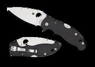 "Spyderco Manix 2 Back Lock C101MBGP2 Folding Knife, 3.375"" Plain Edge Blade, Black G-10 Handle"