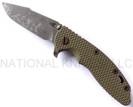"Rick Hinderer Knives Battlefield Pickup XM-18 Harpoon Spanto Folding Knife, 3.5"" Plain Edge M390 Blade, Olive Drab (OD) G-10 Handle"