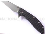 "Rick Hinderer Knives Gearhead XM-24 Wharncliffe Limited Edition Folding Knife, Working Finish 4"" Plain Edge M390 Blade, Working Finish Lock Side, Black G-10 Handle"