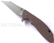 "Rick Hinderer Knives Gearhead XM-24 Wharncliffe Limited Edition Folding Knife, Working Finish 4"" Plain Edge M390 Blade, Working Finish Lock Side, Flat Dark Earth (FDE) G-10 Handle"