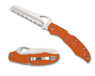 "Byrd Cara Cara Rescue 2 BY17SOR2 Folding Knife, 3.875"" Serrated Edge Blade, Orange FRN Handle"