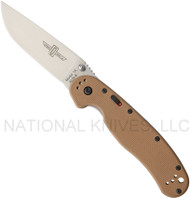 "Ontario RAT 1A 8870TN Assisted Opening Knife, Satin 3.625"" Plain Edge Blade, Tan Handle"