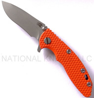 "Rick Hinderer Knives XM-18 Recurve Folding Knife, Working Finish 3"" Plain Edge S35VN Blade, Hinderer Factory Battle Blue Lock Side, Orange G-10 Handle"