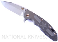 "Rick Hinderer Knives Stars and Bars XM-18 Limited Edition Harpoon Spanto Folding Knife, Bead Blast 3.5"" Plain Edge CPM-20CV Blade, Hinderer Factory Bead Blast Lockside, Bead Blast Titanium  Handle"