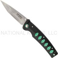 "Mcusta Katana MC-44C Folding Knife, 3.437"" Plain Edge Blade, Black and Green Aluminum Handle"