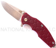 "Rick Hinderer Knives Jurassic Spear Point Folding Knife, Stonewashed 3.25"" Plain Edge S35VN Blade. Stonewashed Lock Side, Red G-10 Handle"