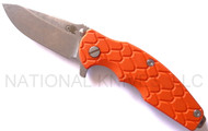 "Rick Hinderer Knives Jurassic Spear Point Folding Knife, Stonewashed 3.25"" Plain Edge S35VN Blade. Stonewashed Lock Side, Orange G-10 Handle"