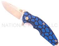 "Rick Hinderer Knives Jurassic Spear Point Folding Knife, Stonewashed 3.25"" Plain Edge S35VN Blade. Stonewashed Lock Side, Blue - Black G-10 Handle"