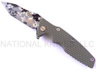 "Rick Hinderer Knives Generation 2 Eklipse Harpoon Tanto Folding Knife, Digital Camo/Working Finish 3 5/8"" Plain Edge CPM-20CV Blade, Digital Camo/Working Finish Lock Side, Olive Drab G-10 Handle"