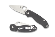 Spyderco Para 3 C223GPDGY Folding Knife, Stonewash Plain Edge Maxamet Blade, Dark Gray G-10 Handle