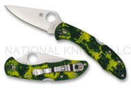 """Spyderco Delica 4 C11ZFPYL Folding  Knife, 2.875"""" Plain Edge CPM-S30V Blade, Zome Yellow and Green FRN Handle"""