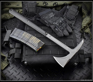 "RMJ Tactical Eagle Talon Tomahawk, 2.937"" Forward Edge 80CRV2, Black Handle, Sheath"