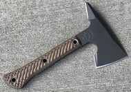 "RMJ Tactical Mini Jenny Tomahawk, 2.687"" Forward Edge 80CRV2, Hyena Brown Handle, Sheath"