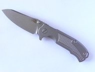 "USED - Rick Hinderer Knives MP-1 Flipper Folding Knife, Stonewashed 3.25"" Plain Edge S35VN Blade, Stonewashed Lock Side, Stonewashed Titanium Handle 6"
