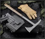 "RMJ Tactical Eagle Talon Tomahawk, 2.937"" Forward Edge 80CRV2, Hyena Brown Handle, Sheath"