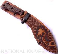 "RMJ Tactical Custom Valhalla Kukri Fixed Blade Knife, 10.5"" Plain Edge 80CRV2 Blade, Leather Sheath"