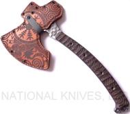 "RMJ Tactical Custom Valhalla Berserker Tomahawk, 4.937"" Forward Edge 4140, Brown Micarta Handle, Leather Sheath"