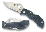 "Spyderco Manbug MBBLPE Sprint Run Folding Knife, 1.968"" Plain Edge V-Toku2 and SUS410 Laminate Blade, Blue-Gray FRN Handle"