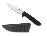 "Spyderco WaterWay FB43GP Fixed Blade Knife, 4.4"" LC 200 N Plain Edge Blade, Black G-10 Handle, Sheath"