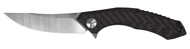 "Zero Tolerance 0462 Folding Knife, 3.656"" Plain Edge Blade, Black and Red Carbon Fiber Handle"